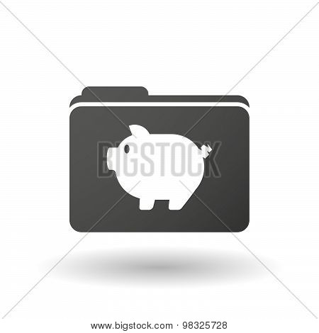 Isolated Folder Icon With A Pig