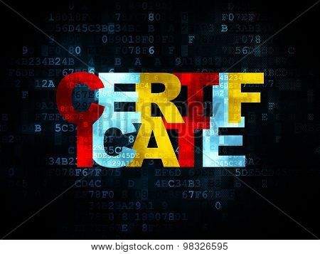 Law concept: Certificate on Digital background