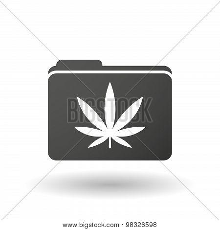 Isolated Folder Icon With A Marijuana Leaf