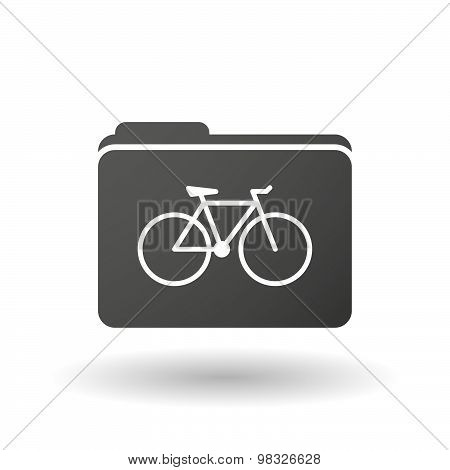Isolated Folder Icon With A Bicycle