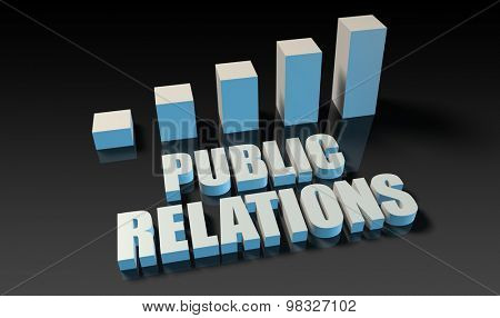 Public relations graph chart in 3d on blue and black