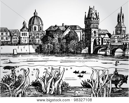 Prague Landscape Surrealistic