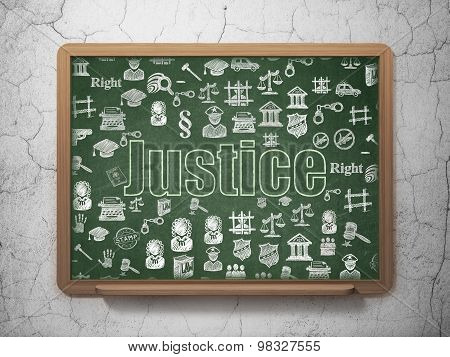 Law concept: Justice on School Board background