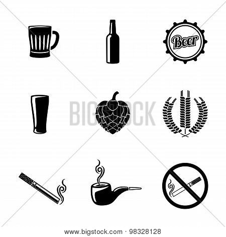 Pub and beer icons set with - Glass, mug, bottle, hop, wheat, tap, pipe, cigarette, no smoking sign.