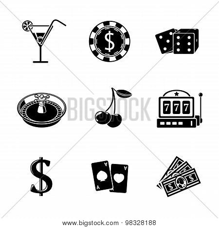 Casino gambling monochrome icons set with - dice, poker cards, chip, cherry, slot machine, roulette,