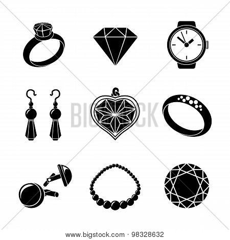Jewelry monochrome icons set with - rings, diamonds, watch, earings, pendant, cuff links, necklace.