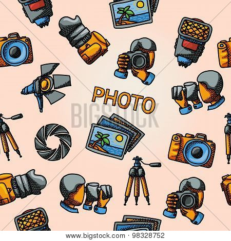 Seamless photography handdrawn pattern with - shutter, camera, photos, shooting photographers, flash
