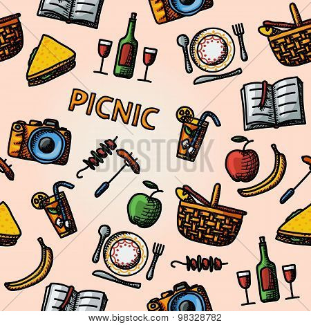 Color hand drawn picnic pattern. Vector