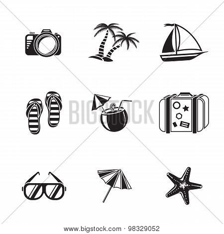 Summer holidays monochrome icons set with - coconut cocktail, fish star, slippers, palms, suitcase,b