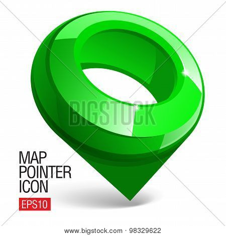 Shiny Gloss Green Map Pointer Icon. Vector