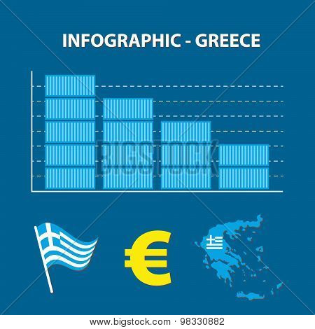 Infographic With Graph Of Decrease Business Of Greece