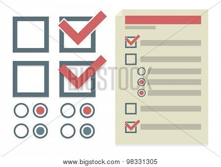 Vector set of simple design elements for To Do list