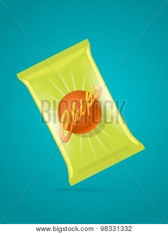 Vector illustration of potato chips bag on blue background, eps10
