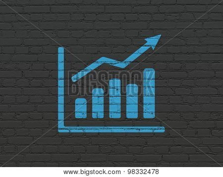 News concept: Growth Graph on wall background