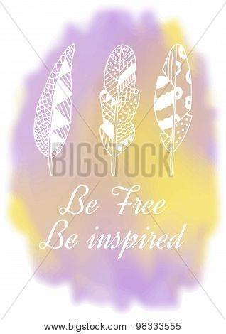 Hand drawn feathers on watercolor background Indian feathers Tribal design