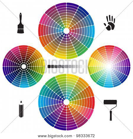 Set of Color Wheels with separate flat colors