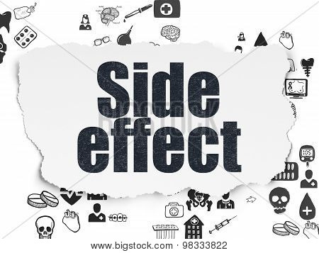 Health concept: Side Effect on Torn Paper background