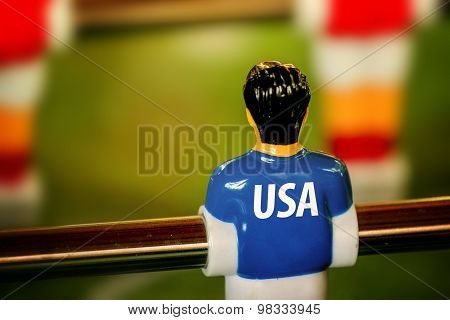 Usa National Jersey On Vintage Foosball, Table Soccer Game