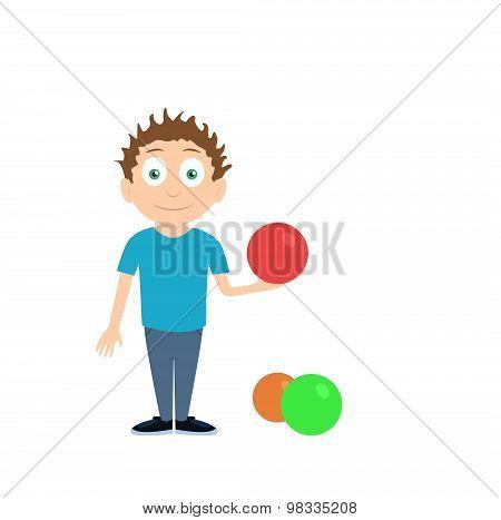 Cartoon illustration of boy charater holding ball