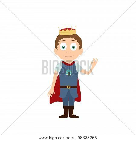 Young prince standing and waving cartoon character