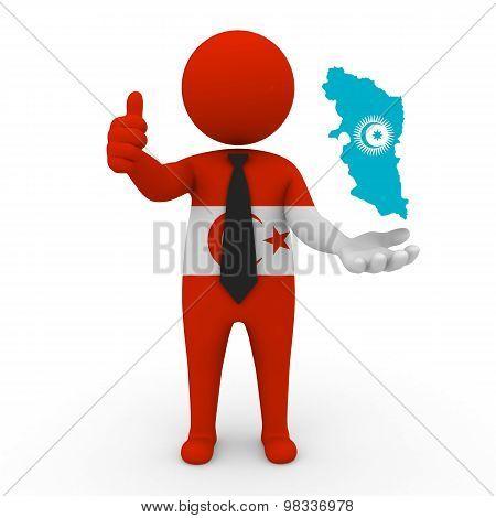 3d small people Khorasani Turks - Map flag of  Khorasan-Turkic Council. Khorasani Turks in Khorasan