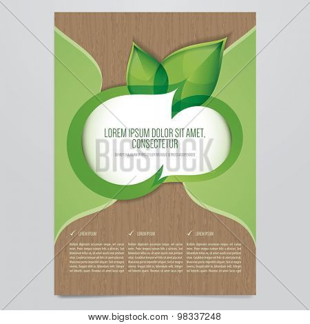 Vector Eco flyer, poster, brochure, magazine cover template.