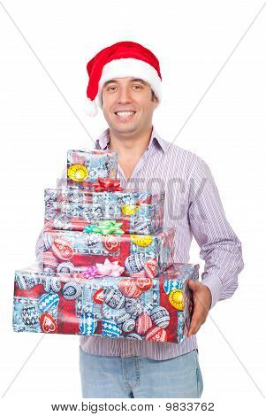 Happy Man Carry Christmas Gifts