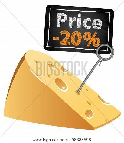 Cheese with a price tag sale at a low price at market