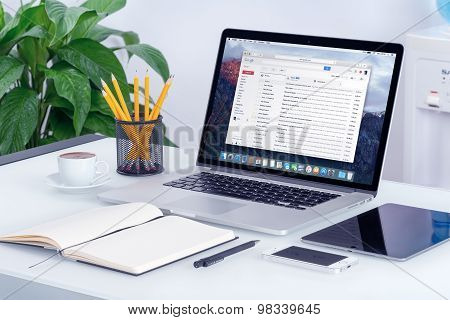 Google Gmail Interface On The Apple Macbook Pro Screen That Is On Office Desk