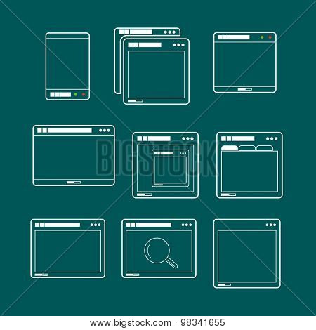 Web browsers lineart design collection. Vector mockup