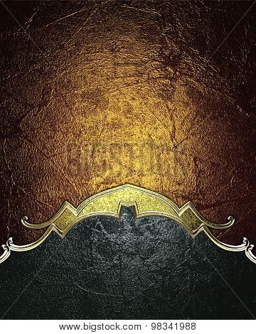 Dark Shabby Background With Gold Edges On A Gold Background. Element For Design. Template For Design