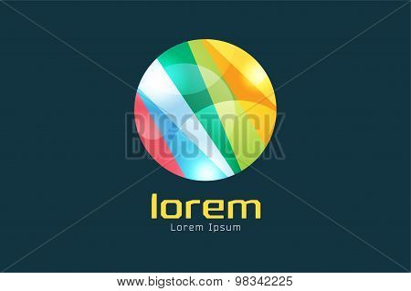 Vector circle abstract logo template. Round ring shape and infinity loop symbol, color line icon, cr