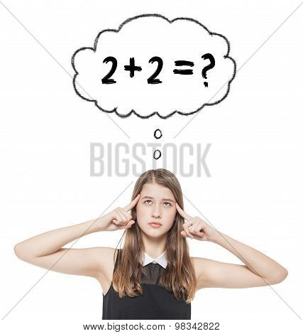 Young Teenage Girl Pressed Her Fingers To The Temple And Solve Equation