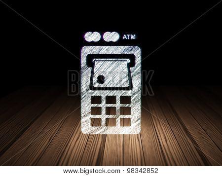 Money concept: ATM Machine in grunge dark room