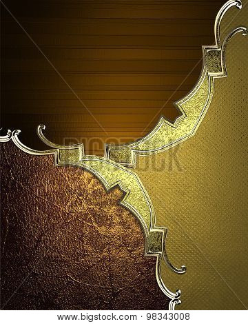 Elegant Background With Golden Patterns. Element For Design. Template For Design. Copy Space For Ad