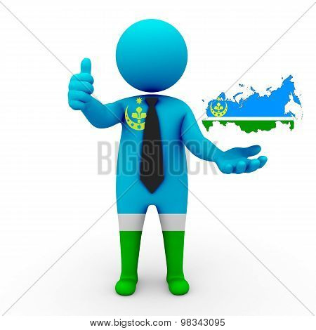 3d people Siberian Tatars - map flag of  Russia-Siberian Tatars. Siberian Tatars in Russia