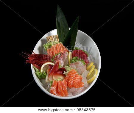 Round Plate Of Sushi And Sashimi