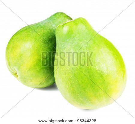 whole papaya fruits isolated on white
