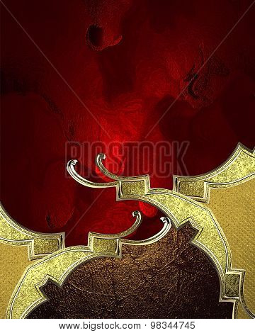 Red Elegant Background With Gold Pattern. Element For Design. Template For Design. Copy Space For Ad