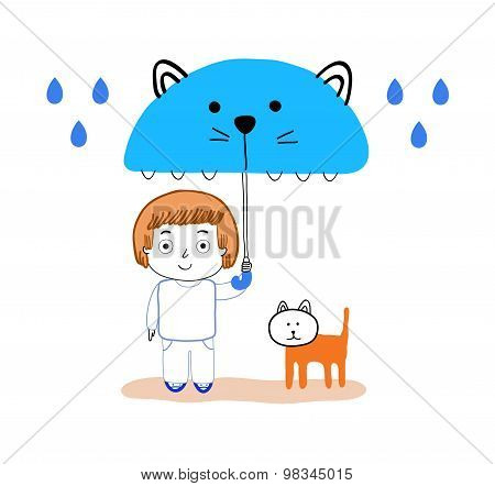 Boy And Cat Under The Rain Illustration, Decoration For Kids