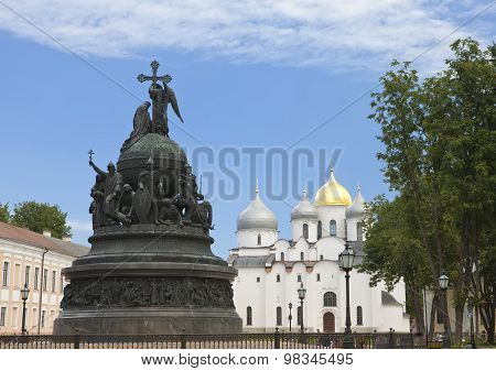 Russia Great Novgorod. Monument Millennium of Russia and Sofia cathedral