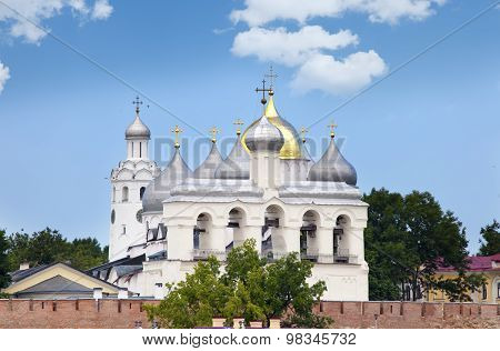 Great Novgorod. The Kremlin wall and Saint Sophia cathedral. Russia