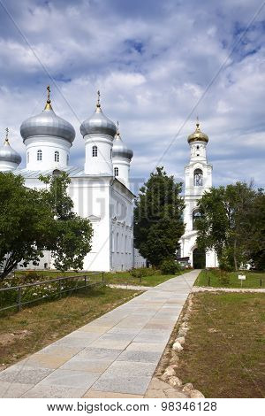 Saviour Cathedral and bell tower Russian orthodox Yuriev Monastery in Great Novgorod (Veliky Novgoro