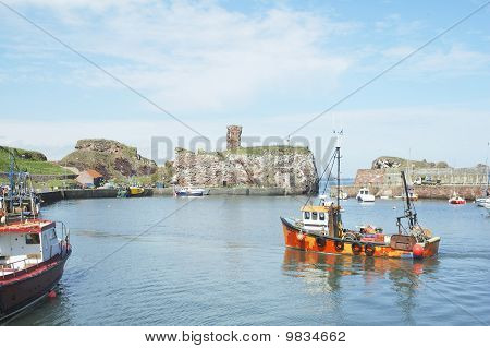 Dunbar Castle Ruins, Harbour And Fishing Boats
