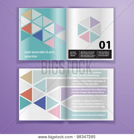 Color application brochure template design for corporate identity with triangle shapes. Stationery set