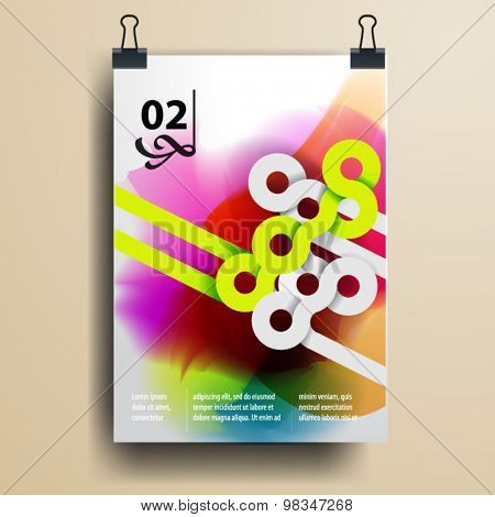 Color application poster or magazine cover template design for corporate identity with watercolor splash and circle shapes. Stationery set