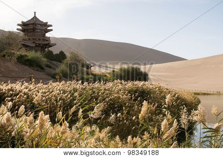 Chinese Pavilion Near Crescent Moon Lake In Desert, Dunhuang, China