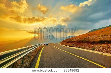 Sunset On Transalpina Mountain Road
