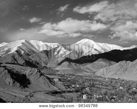 Leh City Among Mountains In Monotone Image, Ladakh Region, India