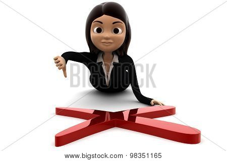 3D Woman Laying Before Red Cross Sign And Thumb Down Concept